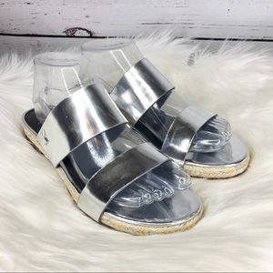 Marc Fisher Aimee Silver Leather Slip On Sandals